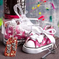 Oh So Cute Pink Star Print Baby Sneaker Key Ring